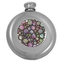 Sweet Allover 3d Flowers Round Hip Flask (5 oz)