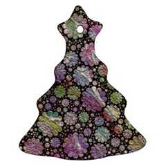 Sweet Allover 3d Flowers Christmas Tree Ornament (2 Sides)