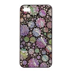 Sweet Allover 3d Flowers Apple iPhone 4/4s Seamless Case (Black)