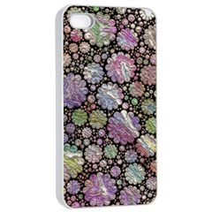 Sweet Allover 3d Flowers Apple Iphone 4/4s Seamless Case (white)