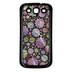 Sweet Allover 3d Flowers Samsung Galaxy S3 Back Case (Black)