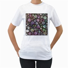 Sweet Allover 3d Flowers Women s T-Shirt (White)