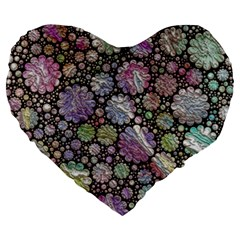 Sweet Allover 3d Flowers Large 19  Premium Flano Heart Shape Cushions