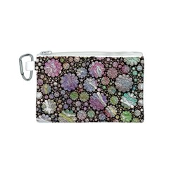Sweet Allover 3d Flowers Canvas Cosmetic Bag (S)