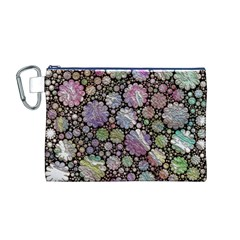 Sweet Allover 3d Flowers Canvas Cosmetic Bag (M)