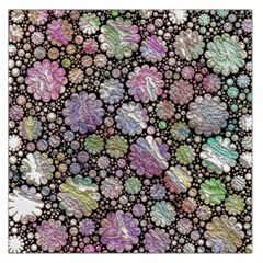 Sweet Allover 3d Flowers Large Satin Scarf (Square)
