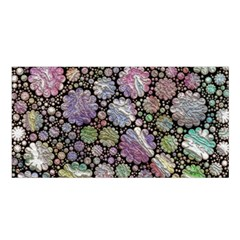Sweet Allover 3d Flowers Satin Shawl