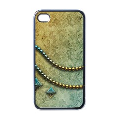 Elegant Vintage With Pearl Necklace Apple iPhone 4 Case (Black)