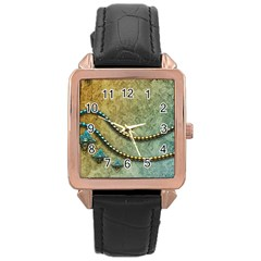 Elegant Vintage With Pearl Necklace Rose Gold Watches