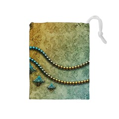 Elegant Vintage With Pearl Necklace Drawstring Pouches (Medium)