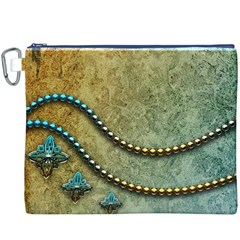 Elegant Vintage With Pearl Necklace Canvas Cosmetic Bag (XXXL)