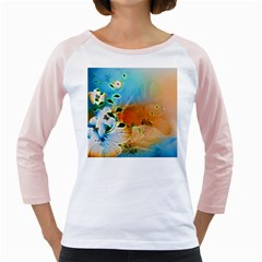 Wonderful Flowers In Colorful And Glowing Lines Girly Raglans