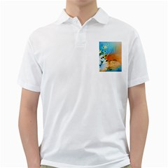 Wonderful Flowers In Colorful And Glowing Lines Golf Shirts