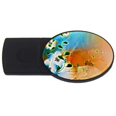 Wonderful Flowers In Colorful And Glowing Lines USB Flash Drive Oval (2 GB)