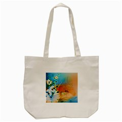 Wonderful Flowers In Colorful And Glowing Lines Tote Bag (Cream)