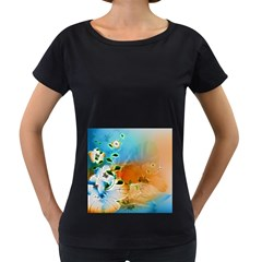 Wonderful Flowers In Colorful And Glowing Lines Women s Loose Fit T Shirt (black)
