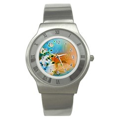 Wonderful Flowers In Colorful And Glowing Lines Stainless Steel Watches