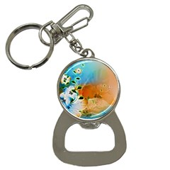 Wonderful Flowers In Colorful And Glowing Lines Bottle Opener Key Chains