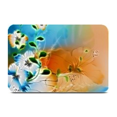 Wonderful Flowers In Colorful And Glowing Lines Plate Mats