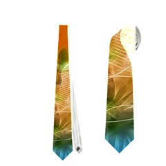 Wonderful Flowers In Colorful And Glowing Lines Neckties (One Side)