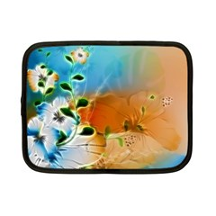 Wonderful Flowers In Colorful And Glowing Lines Netbook Case (Small)