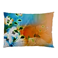 Wonderful Flowers In Colorful And Glowing Lines Pillow Cases