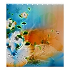 Wonderful Flowers In Colorful And Glowing Lines Shower Curtain 66  x 72  (Large)