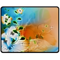 Wonderful Flowers In Colorful And Glowing Lines Fleece Blanket (Medium)