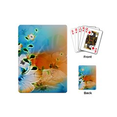 Wonderful Flowers In Colorful And Glowing Lines Playing Cards (Mini)