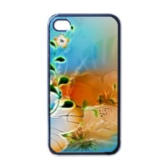 Wonderful Flowers In Colorful And Glowing Lines Apple iPhone 4 Case (Black)