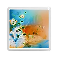 Wonderful Flowers In Colorful And Glowing Lines Memory Card Reader (Square)