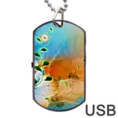 Wonderful Flowers In Colorful And Glowing Lines Dog Tag Usb Flash (two Sides)