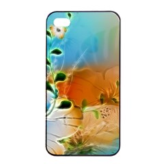 Wonderful Flowers In Colorful And Glowing Lines Apple iPhone 4/4s Seamless Case (Black)