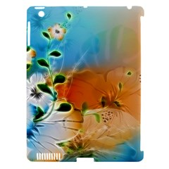 Wonderful Flowers In Colorful And Glowing Lines Apple iPad 3/4 Hardshell Case (Compatible with Smart Cover)