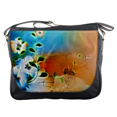 Wonderful Flowers In Colorful And Glowing Lines Messenger Bags