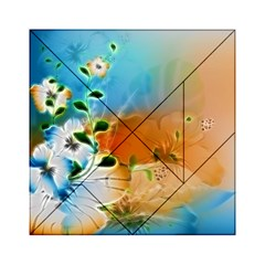 Wonderful Flowers In Colorful And Glowing Lines Acrylic Tangram Puzzle (6  x 6 )
