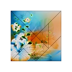 Wonderful Flowers In Colorful And Glowing Lines Acrylic Tangram Puzzle (4  x 4 )