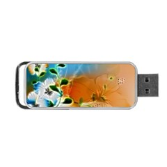 Wonderful Flowers In Colorful And Glowing Lines Portable USB Flash (One Side)