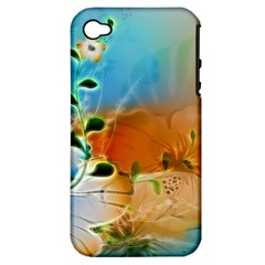 Wonderful Flowers In Colorful And Glowing Lines Apple iPhone 4/4S Hardshell Case (PC+Silicone)