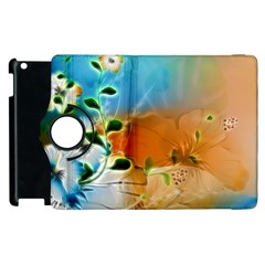 Wonderful Flowers In Colorful And Glowing Lines Apple Ipad 3/4 Flip 360 Case