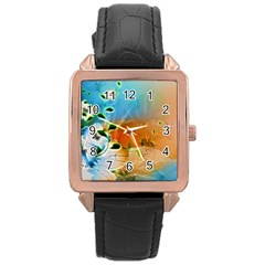 Wonderful Flowers In Colorful And Glowing Lines Rose Gold Watches