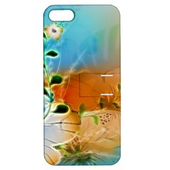 Wonderful Flowers In Colorful And Glowing Lines Apple iPhone 5 Hardshell Case with Stand