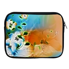 Wonderful Flowers In Colorful And Glowing Lines Apple iPad 2/3/4 Zipper Cases