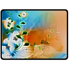 Wonderful Flowers In Colorful And Glowing Lines Double Sided Fleece Blanket (Large)