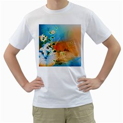 Wonderful Flowers In Colorful And Glowing Lines Men s T-Shirt (White)