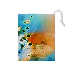 Wonderful Flowers In Colorful And Glowing Lines Drawstring Pouches (Medium)