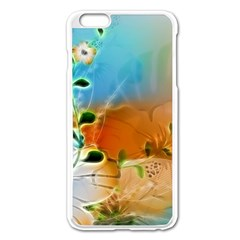 Wonderful Flowers In Colorful And Glowing Lines Apple iPhone 6 Plus Enamel White Case