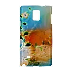 Wonderful Flowers In Colorful And Glowing Lines Samsung Galaxy Note 4 Hardshell Case