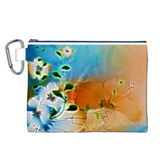 Wonderful Flowers In Colorful And Glowing Lines Canvas Cosmetic Bag (L)