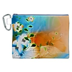 Wonderful Flowers In Colorful And Glowing Lines Canvas Cosmetic Bag (XXL)
